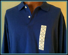 ST JOHNS BAY LONG SLEEVE ADULT XL POLO SHIRT 100% COTTON DARK ROYAL BLUE NEW TAG