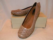 New HUSH PUPPIES EFFY brown taupe leather COMFORT FLORAL CUT OUT SHOES 9 M