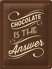 "PLAQUE EN METAL EMAILLEE NEUVE 15 X 20 cm : VINTAGE ""CHOCOLATE ...""CHOCOLAT..."