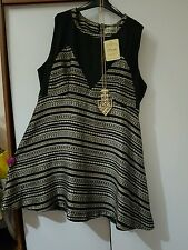 Sienna Couture Black/Gold Aztec Lagenlook Skater Dress Size 20 BNWT RRP 79.99