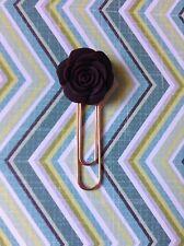 Brown Floral Planner Clip - Rose, Kikki K, Erin Condren, Rose Gold, Kate Spade