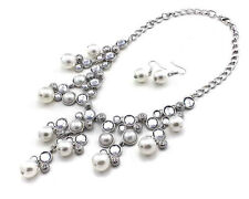 """17"""" Silver Toned Necklace With White Pearls and Clear Rhinestone With Earrings"""