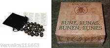 Black Stone Viking Runes NEW Sealed 25 Genuine Engraved Stones Bag Instructions