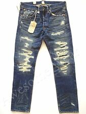 New Ralph Lauren RRL Repaired Distressed Slim Fit Hillsdale Jeans size 32 x 32