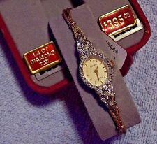 Vintage 80s Gruen Ladies Wrist Watch Goldplated 1/4 CT Genuine Diamonds NEW batt