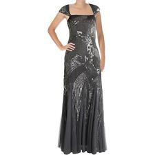 Adrianna Papell 7832 Womens Silver Mesh Prom Evening Dress Gown 12 BHFO