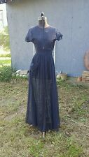 Vintage 1930s 40s Sheer Chantilly Lace Maxi Dress*Navy*Excellent*