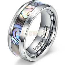 8mm Tungsten Carbide Wedding Band Ring Abalone Shell Men's modern Band SIZE 11