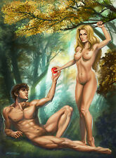 "Signed Erotic Sexy Adam and Eve Small 8.5"" x 11"" Art Print by Sandra Chang-Adair"
