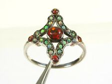 .50ctw Natural Multi Colored Opal Victorian Deco Sterling Filigree Ring s8 113b