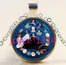 Mermaid Stained Cabochon Tibetan silver Glass Chain Pendant Necklace#XP-2693