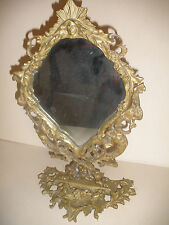 Great Antique 19th Victorian bronze mirror with figural devil & woman nude ,owl