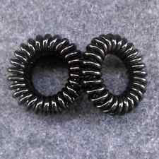 pack of 4 small black hair bobbles telephone wire elastic coil no tangle