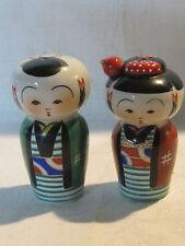 Vintage porcelain Kokeshi doll style salt and pepper shaker set, Japan