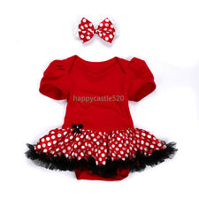 Infant Baby Girl Headband Romper Bodysuit Jumpsuit Tutu Dress Clothes 3-6M Red