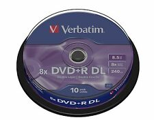 Verbatim DVD+R 8,5 Go 8x speed de 240 min enregistrable double couche spindle Pk 10 (43666)