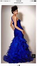 MSRP $ 1195 WOW! STUNNING CACHE SILLLK S/2 ROYAL BLUE BALL GOWN