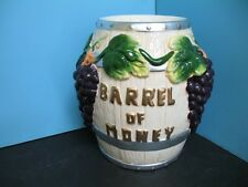 3D Barrel of money coin bank grape piggy saving ceramic vineyard wine tip jar NU