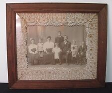 "Mission Oak Arts & Crafts Wood Picture Frame fits 15"" x 18"" w/ vintage Photo"