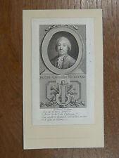 Gravure 18e s. PORTRAIT MINIATURE DE PHILIPPE DE LAURENS DE REYRAC N. de Launay