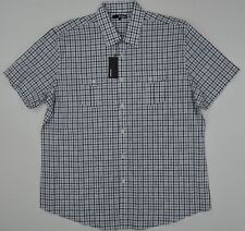 NWT Men's Murano Button Front Short Sleeve Casual Shirt White and Gray XL