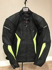 Cortech Latigo 2 Black/Yellow Leather  Motorcycle Jacket Size L - MSRP $289.99