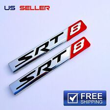 SRT8 Logo 3D Emblem Badge Sticker Decal Metal Chrome - 2PCS