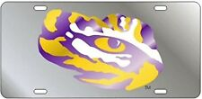 LSU TIGERS Inlaid Tiger Eye Silver Mirrored License Plate / Car Tag