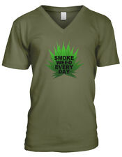 Smoke Weed Every Day Pot Leaf Marijuana 420 Canabis High Mens V-neck T-shirt