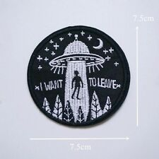 UFO Alien Flying Saucer Roswell Area 51 Space Green Iron On Patch UK Badge Bag