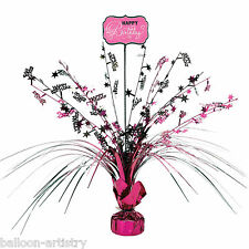 "18"" Stylish Black & Pink Happy Birthday Party Table Centrepiece Decoration"