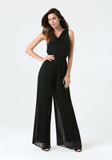 NWT BEBE Pleated Wide Leg Jumpsuit SIZE M ,Exquisite chiffon overlay, elegant