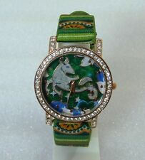 CLOTH STRAP UNIQUE STYLE WOMEN'S WRIST WATCH -LITE  GREEN - FREE SPARE BATTERY