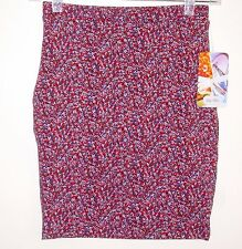 Lily White NEW Knit Pencil Skirt Above Knee Stretch Medium M Floral Print
