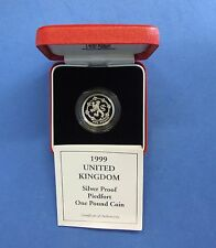 1999 Silver Piedfort Proof £1 coin in case with COA  (V2/65)