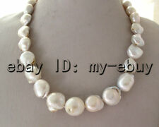 White Keshi Keishi Baroque Freshwater Pearl Necklace Rose Leopard Clasp