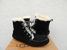 UGG CHICKAREE BLACK SHEEPSKIN CUFF LACE-UP MOCCASIN BOOTS, US 9/ EUR 40 ~NIB