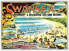 Swansea South Wales Sea-side Resort Railway Vintage Old Picture Poster A4 Print