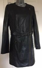 Soft Leather Definitions Size 12 3/4 Trench Style Coat Black Quilt Design Belted