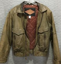 Weekends Brown Leather Flight/Bomber Jacket Men's Medium