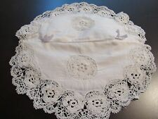 Decorative Ivory Cotton Linen Fabric Facial Tissue Box Cover Crochet Lace Edging