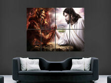 SKANDERBEG  ARM WRESTLING THE DEVIL JESUS WALL POSTER ART PICTURE PRINT LARGE
