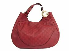 Auth GUCCI Shoulder Bag G Detail/Guccissima Leather Red 203504 (BF114910)
