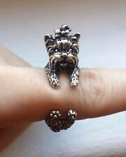 Yorkshire Terrier Yorkie Dog With Bow Adjustable Silver Color Wrap Ring