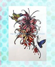 """shoulder arm finger butterfly flower extra large 8.25"""" half-sleeve arm tattoo"""