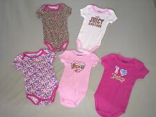 NWT JUICY COUTURE 6 9 MO RETRO 5 PACK OF ONE PIECE BODYSUIT PINK WHITE GIRLS