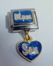 MUM SON 9mm Italian Charm - I Love My Mother Boy Blue Heart fits 9mm Bracelets