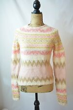 Gap SKI LODGE Wool mohair blend PINK beige ivory crewneck sweater, size M