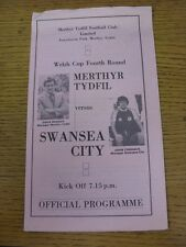 1980/1981 Merthyr Tydfil v Swansea City [Welsh Cup] (creased at top). Good condi