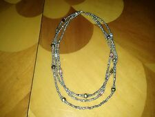 HUGE STERLING SILVER NECKLACE with COLORED BEADS